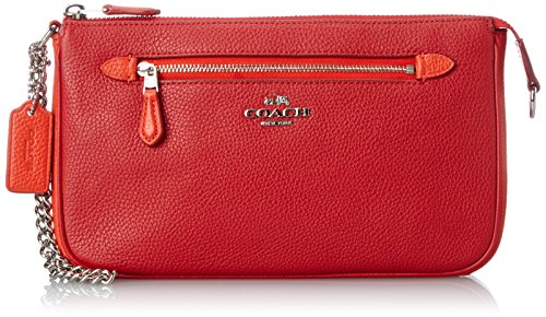 COACH Women's Color Block Nolita 24 Wristlet Sv/True Red/Orange One Size