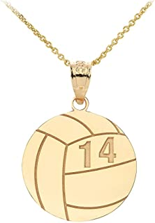Sports Charms 10k Yellow Gold Personalized Beach Volleyball Necklace with Your Name and Number