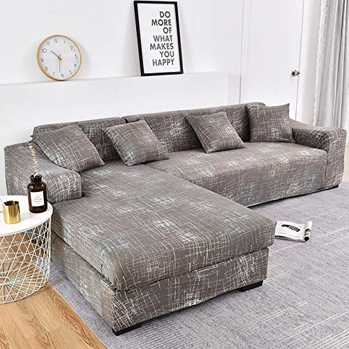 ASCV L Shape Need Buy 2 Pieces Corner Sofa Covers for Living Room Tight Wrap Slipcovers Elastic Stretch Couch Cover A8 3 Seater