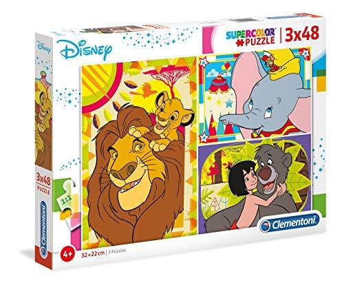 Clementoni- Supercolor Puzzle-Disney Classic-3 x 48 Pezzi, Multicolore, 25236