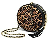 Women Round Cross Body Bag Tassel Circle Purse Chain Shoulder Handbag Clutch Wristlet (Leopard)