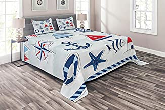 Lunarable Nautical Coverlet Set Twin Size, Bell Summertime Theme Starfish Flags Holidays Traveling Exotic Beach, 2 Piece Decorative Quilted Bedspread Set with 1 Pillow Sham, White Blue