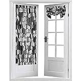 Cortinas francesas para puerta, con diseño de vidrieras con mosaico de composición abstracta, 2 paneles, 66 x 172 cm, cortinas de ventana para dormitorio, gris carbón, blanco y gris