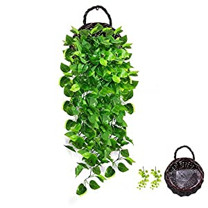 AceList Artificial Hanging Plants with Basket Fake Ivy Leaves for Home Wall Wedding Party Decor