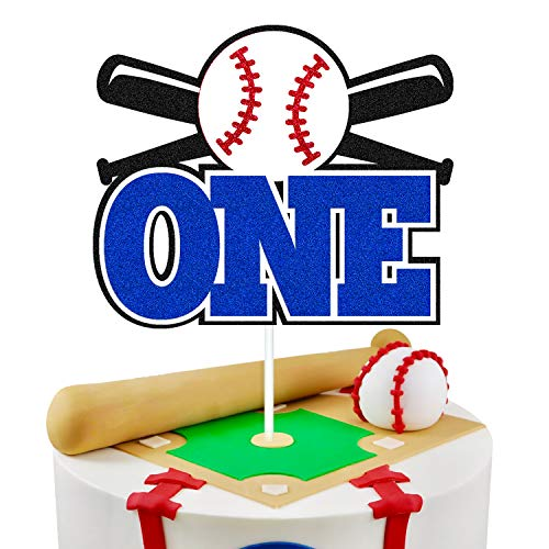 Baseball 1st Birthday Cake Topper Happy First Birthday Cake Decorations for Baseball Player Ball Sport Themed One Year Old Baby Shower Bday Party Supplies