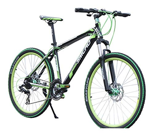 LQRYJDZ 26 inch 27 Speed Mountain Bike Adult Bicycle Aluminum Alloy Portable disc Brake (Color : Black Green, Size : 27)
