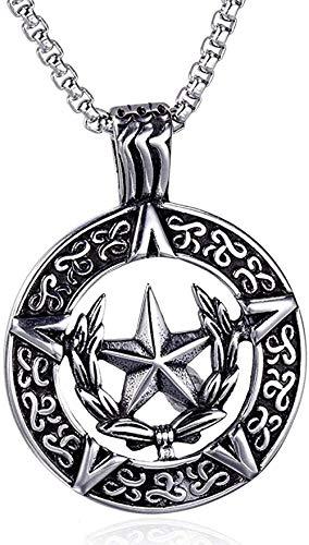 WYDSFWL Collar Vintage Pentagrama Estrella Hombres S Collar Redondo T gótico Retro Lucifer Satan Collares Cadena de 24 Pulgadas joyería Masculina Regalos
