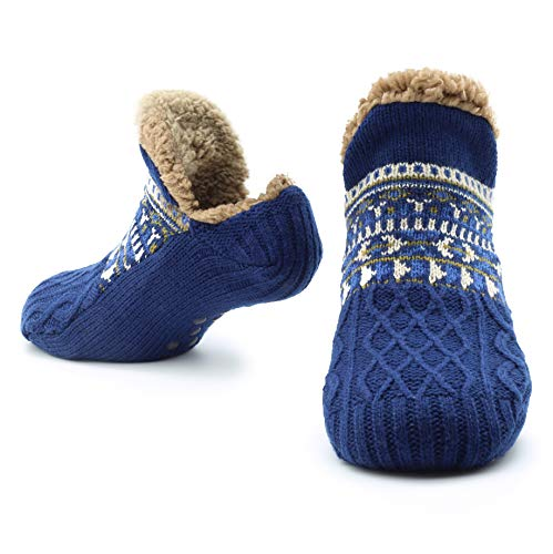 Slipper Fluffy Socks for Women Men Heat Holding Sock Knitted Socks Wool Sherpa Fuzzy Bed Slippers Size 8-12 Non Slip (Blue)