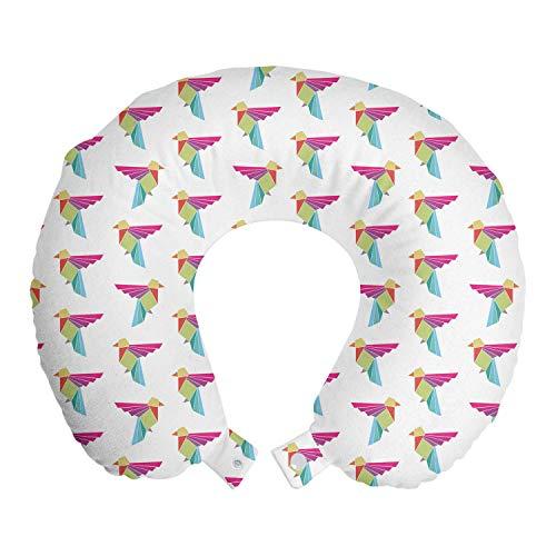 ABAKUHAUS Pájaro Cojín de Viaje para Soporte de Cuello, Papel japonés del Arte de Origami, de Espuma con Memoria Respirable y Cómoda, 30x30 cm, Blanco y Multicolor