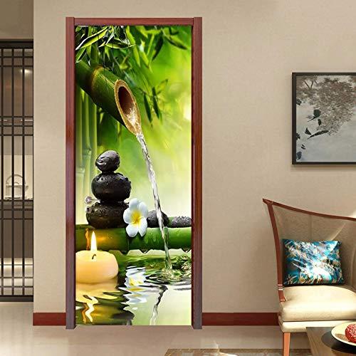 Fantxzcy 3D Door Sticker for Bedroom Kitchen Toilet Green bamboo candle stone 37.4x84.6 inch 3D Door Stickers for Interior Doors Waterproof Door Sticker 3D Effect Wallpaper DIY Murals Living Room Bedr
