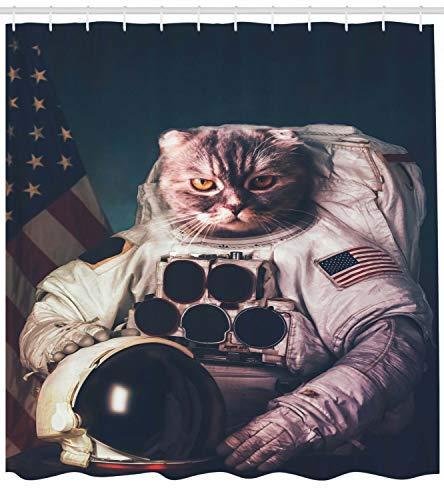 FANG2018 Space Cat Duschvorhang Amerikanische Flagge Vintage Print für Badezimmer Duschvorhang langlebige Stoffzubehör kreativ mit 12 Haken 180X180CM