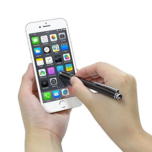 『Coziwo タッチペン 極細 2in1 スタイラスペン 1本+交換用ペン先3個 スマートフォン ipad タブレット iphone android スマホ 対応 イラスト ツムツム ゲーム 絵描き用(ブラック)』のトップ画像