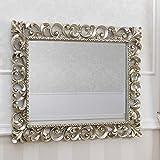 SIMONE GUARRACINO LUXURY DESIGN Specchiera Zaafira Stile Barocco Cornice Traforata Foglia Argento Mecca Specchio molato cm 107 x 87