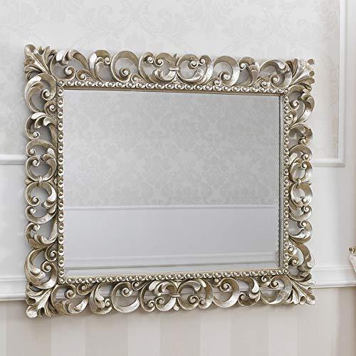 SIMONE GUARRACINO LUXURY DESIGN Specchiera Zaafira Stile Barocco Cornice Traforata Foglia Argento Mecca Specchio molato cm 94 x 74