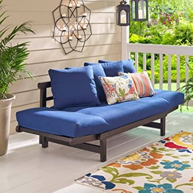 Outdoor Convertible Sofa Daybed Futon Deep Seating Adjustable Wood Patio Furniture with Blue Cushions