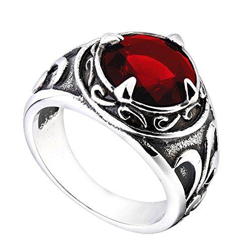 PMTIER Acero Inoxidable Vendimia Patrón de Flores Redondas Piedra Preciosa Anillo para los Hombres Rojo Tamaño 25