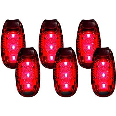 qlovel LED Safety Light (6 Pack), Clip On Strobe Running Lights for Runners, Walking, Bicycle, Dog Collar, Stroller, Best Night High Visibility Accessories for Your Reflective Gear