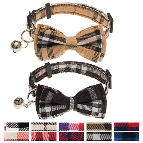 OFPUPPY Cute Bowtie Cat Collar Breakaway with Bell 2 Pack Plaid Collar Set for Kitty Puppy...