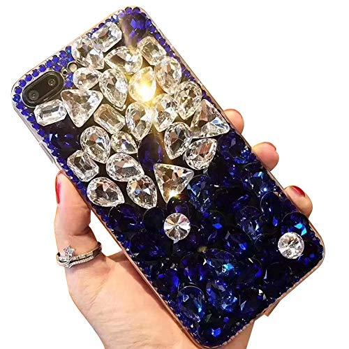 Miagon Glänzend Hülle für Samsung Galaxy A8 Plus 2018,3D Handschlaufe Glitzer Bling Strass Hülle Diamant Transparent Handyhülle Bumper Case Tasche Schutzhülle,Blau Klar