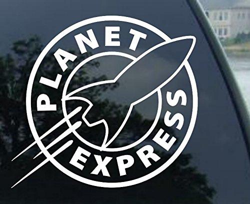 "Crawford Graphics PLANET EXPRESS - Futurama - Vinyl Decal Sticker #A1458 (5.5"", White)"