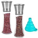 SourceTon - Juego de 2 molinillos de sal y pimienta de acero inoxidable con embudos plegables de silicona, salero y pimentero de cristal alto ajustable con embudo gratuito