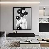 TYLPK Toile Peinture Imprimer Belle Sexy Femme Noir Et Blanc Tenant Ballon Imprime Bar Décoration Creative Peinture A6 70x100 cm