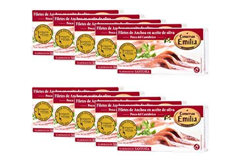 Anchoas de Santoña en aceite de oliva Emilia Serie Oro. Pack 10...