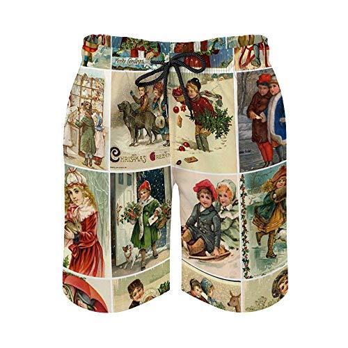MayBlosom Pantalones cortos de playa para hombre, estilo victoriano, vintage, de secado rápido, trajes de baño casuales hawaianos, trajes de baño con elástico
