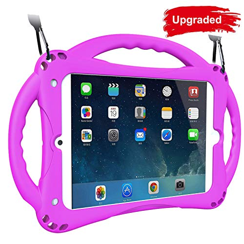 Kids Case for iPad Mini, TopEsct Shockproof Handle Stand Case Cover Compatible with iPad Mini, Mini 2, Mini 3, Mini 4 and Mini 5(2019 Model)(7.9' Mini, Purple)