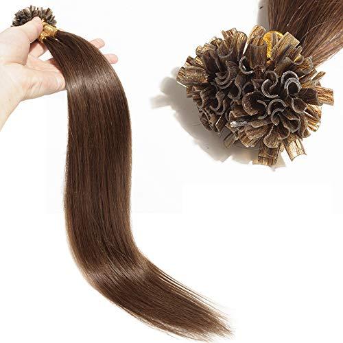 TESS Extensions Echthaar Bondings 1g Keratin Haarverlängerung Remy Human Hair Extensions U-Tip 100 Strähnen 100g-45cm(#4 Schokobraun)