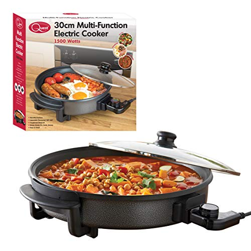 Quest 35410 30cm Multi-Function Electric Cooker Pan with Lid, 1500 W, Aluminium