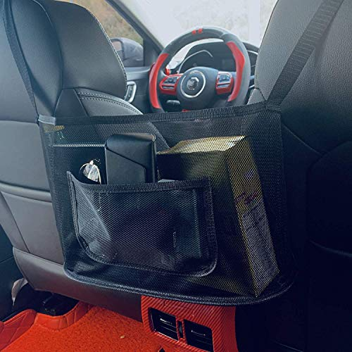 ANLEM Car Net Pocket Handbag Holder, Seat Back Net Bag for Purse Storage Phone Documents Pocket Wallet Handbag Holder for Car, Driver Storage Netting Pouch, Barrier of Backseat Pet Kids
