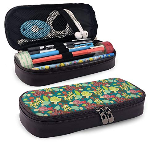 Pencil Case Big Capacity Storage Holder Desk Pen Pencil Marker Stationery Organizer Pencil Pouch with Zipper,Garden Flowers With Rose Petals Leaf Daisy Harvest Inspiration Of Season Pattern