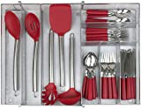Sorbus Flatware Drawer Organizer, Expandable Cutlery Drawer Trays for Silverware, Serving Utensils, Storage for Kitchen, Office, Bathroom Supplies, (Expandable Cutlery Drawer Organizer - Silver)