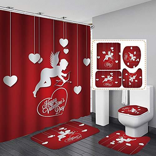 Duschvorhang mit 3D-Digitaldruck, 4-teiliges Set für Zuhause, Hotel, Party, Dekoration, 180 x 180 cm