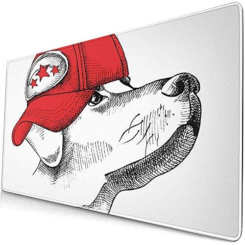 Gaming Extended Mouse Pads mit Rutschfester Gummibasis Baseball Porträt von Hund in Red Cap Animal Schöne 30X80 cm