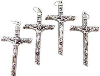 3 1//4 Inch WJH Clear Lucite Gothic Silver Tone Caps Jesus Christ Crucifix Pendant