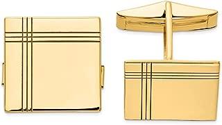 Solid 14k Yellow Gold Men's Cufflinks - 16mm x 17mm