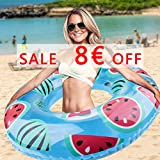 Qomolo Schwimmring Aufblasbarer Wassermelonen-Riesen Boje Pool Stützgewicht bis zu 60 kg für Kinder und Frauen (80cm)