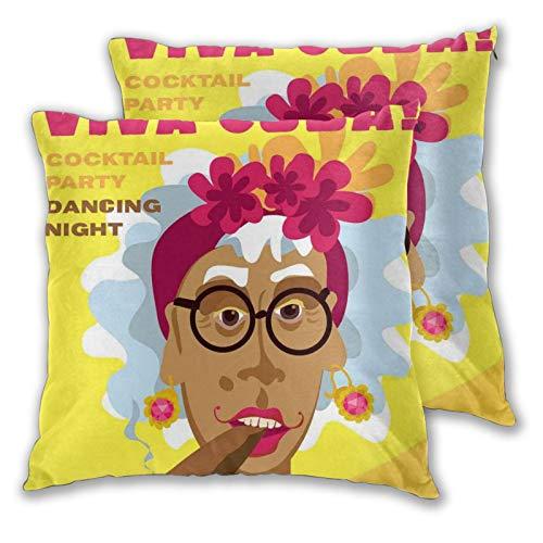 ALLMILL 2 Stück Deko-Kissenbezug 65x65cm,Karibik der kubanischen Frau mit Blumenkopfschmuck und Ohrringen Viva Cuba Slogan Cartoon quadratisch Kissenbezüge für Sofa Bett Wohnzimmer