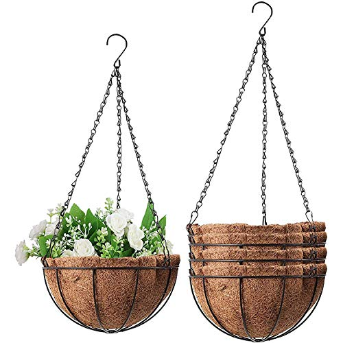 Wizdar 5PCS Metal Hanging Planters Basket with Coco Coir Liner 10 Inch Round Wire Plant Holder Porch Decor Flower Pot Hanger Garden Decor Watering Hanging Baskets for Indoor Outdoor