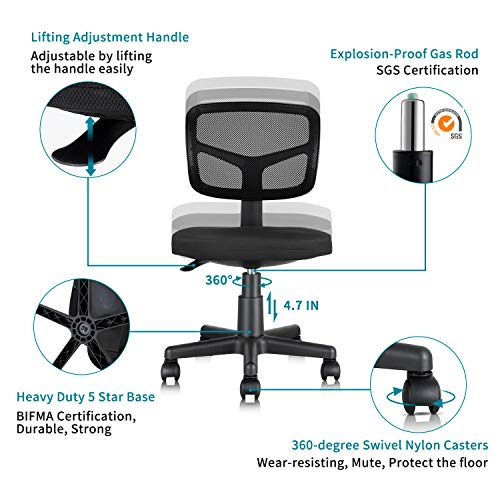 MOLENTS Armless Office Chair With Lumbar Support