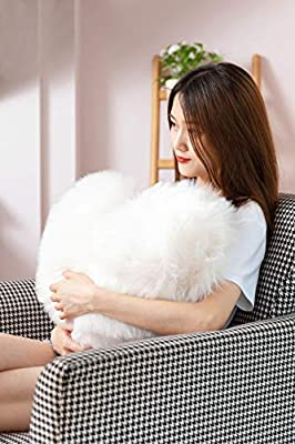 Rally Goods White Oversized Fluffy Heart Shape Throw Pillow (16x20 inch) with Insert, Ultra Plush Double-Sided Faux Fur Sheepskin, for Valentines, Home Décor Accents