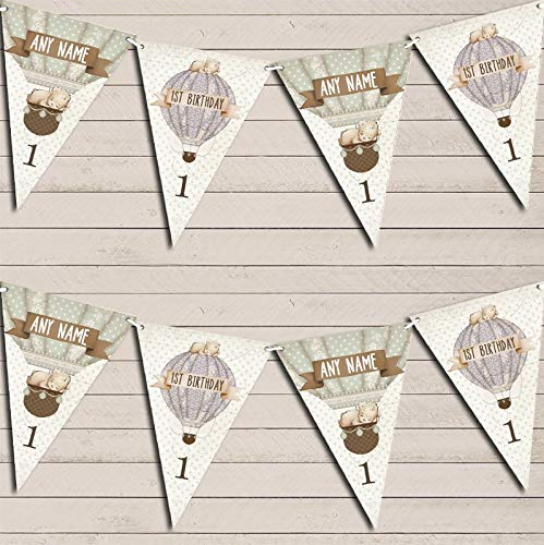 Hot Air Balloon Teddy Bear Vintage Party Any Age Children's Party Personalised Bunting Banner Garland