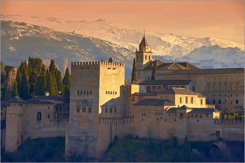 Posterlounge Cuadro de PVC 60 x 40 cm: Sierra Nevada and The Alhambra at Sunset de Age fotostock/Mauritius Images
