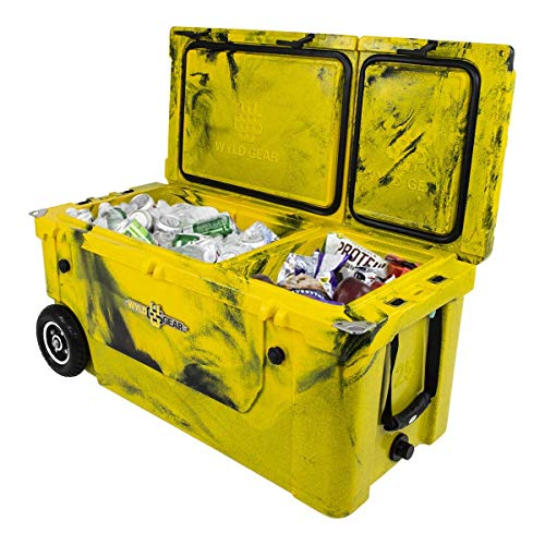 WYLD 75 Quart Dual Compartment Cooler with Wheels (Yellow/Black) & Tap Kit! Aerator Port Kit & Rod Holder Available for Camping Fishing Boating & Tailgating