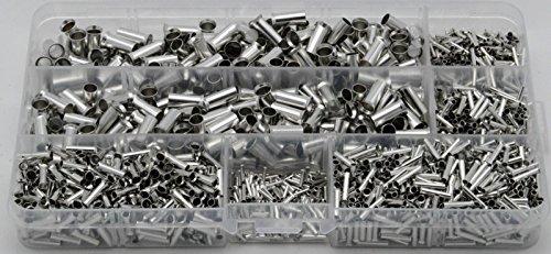 Aderendhülsen Set Sortiment unisoliert blank 0,5/0,75/1,0/1,5/2,5/10mm² sinnvolle Mengen in Plastikbox 1950-tlg.