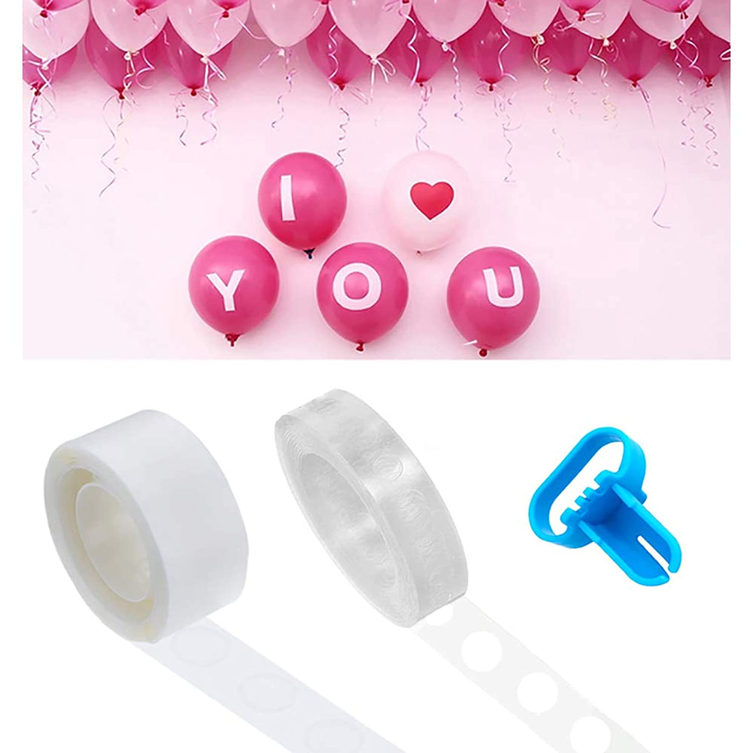 Kalolary Balloon Arch Garland Decorating Strip Kit - 50 Ft Reusable Balloon Tape Strip, 100 Removable Glue Sticky Dots, Tying Tool, Supplies Balloon Time Birthday, Part, Wedding, Events