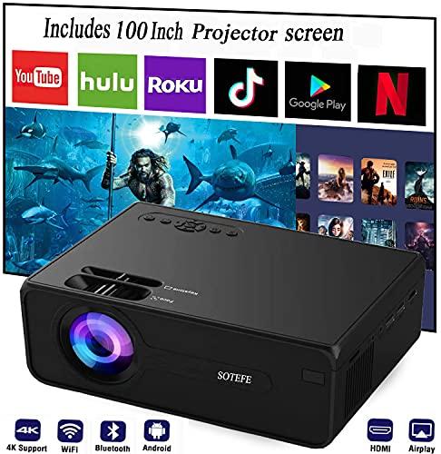 SOTEFE Proyector Bluetooth+WiFi Portátil- Mini proyector de vídeo Android 1080P Full HD Proyector Soporte 4K Descarga APP Película Online Home Proyector Teatro (Incluye pantalla de proyector+bolsa)