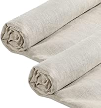 Pllieay 2PCS 19.7 X 55 inch Natural Pure 100% Linen Fabric, Plain Solid Colour Linen Fabric Cloth for Needlework, Dressmaking, Skirts,Bag, Embroidery, Tablecloths and Garments Crafts(Natural Color)